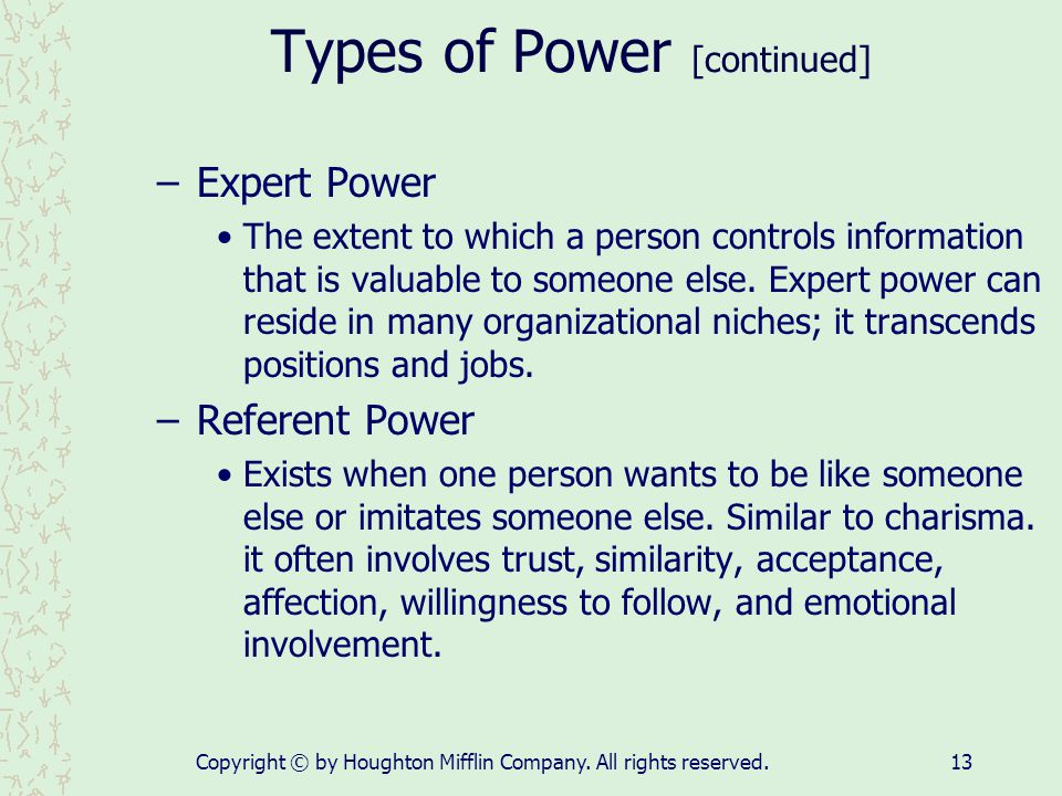 Types of Power [continued]